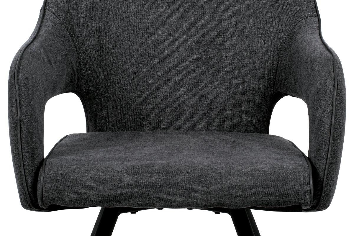 Jídelní židle, šedá látka, kovová podnož, černý matný lak - HC-031 GREY2