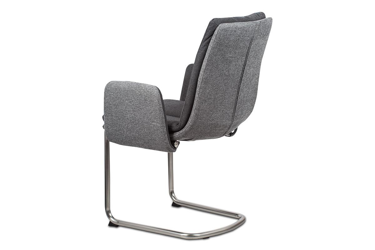 Konferenční a jídelní židle, látka světle / tmavě šedá, kovová pohupová podnož, - HC-042 GREY2