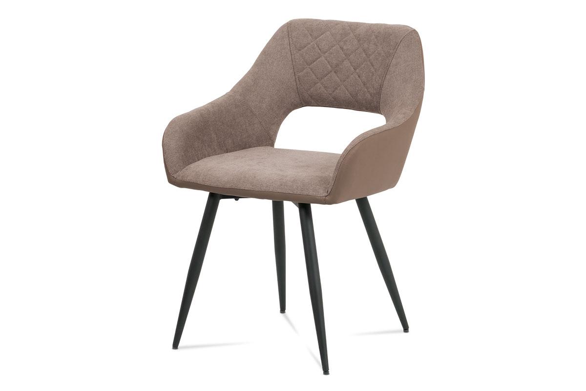 Autronic - Jídelní židle, lanýžová látka+cappuccino ekokůže, kov černý mat - HC-221 LAN2