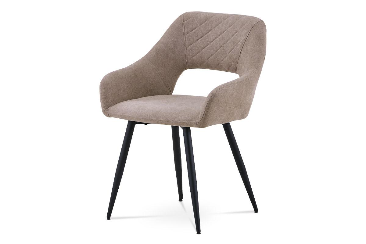 Autronic - Jídelní židle - latté látka, kovová čtyřnohá podnož, černý matný lak - HC-222 LAT2