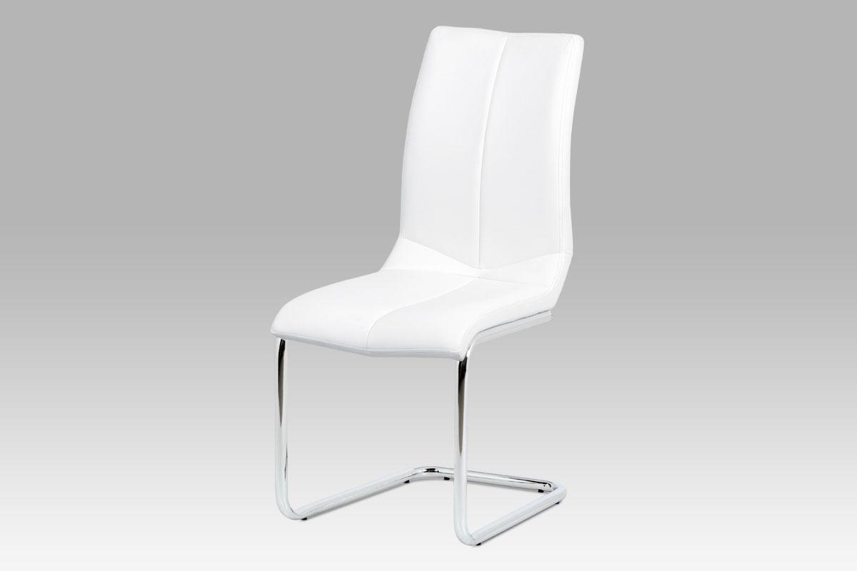 Autronic - Jídelní židle koženka bílá / chrom - HC-229 WT