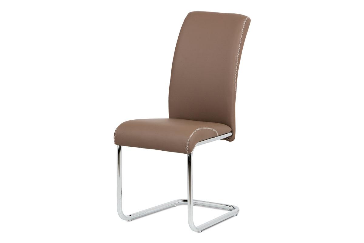 Autronic - Jídelní židle cappuccino koženka / chrom - HC-236 CAP