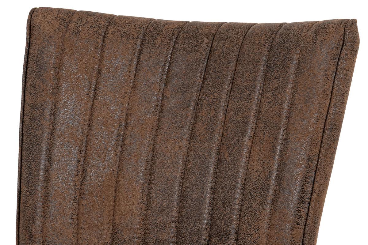 Jídelní židle, hnědá látka v dekoru broušené kůže, broušený kov antik - HC-323 COF3