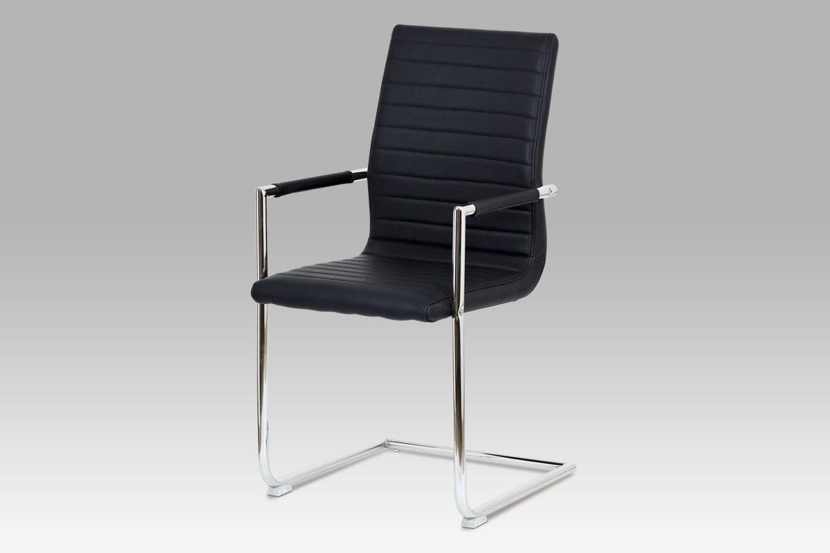 Autronic - Konferenční židle, černá ekokůže, kov chrom - HC-349 BK