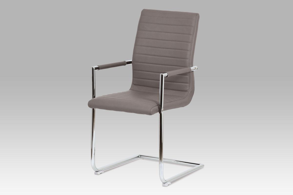 Autronic - Konferenční židle, černá ekokůže, kov chrom - HC-349 COF1