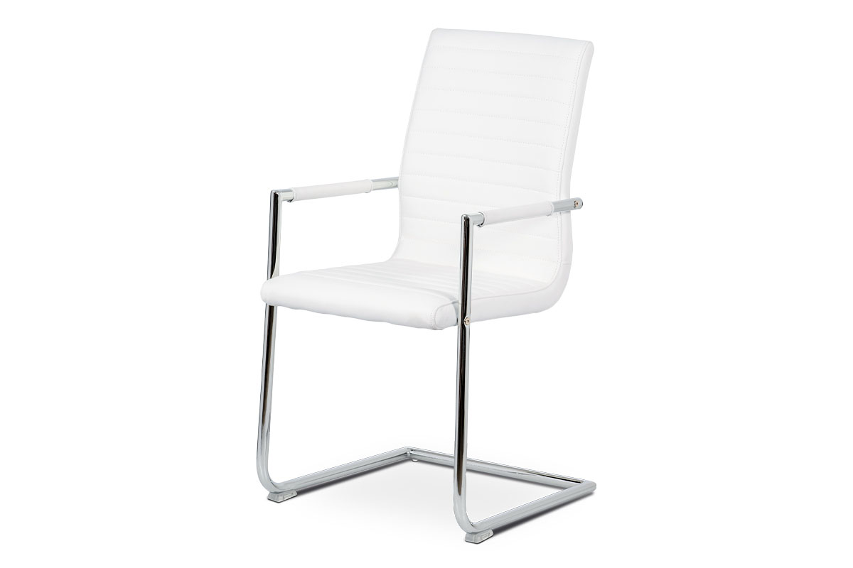 Autronic - Konferenční židle, bílá ekokůže, kov chrom - HC-349 WT