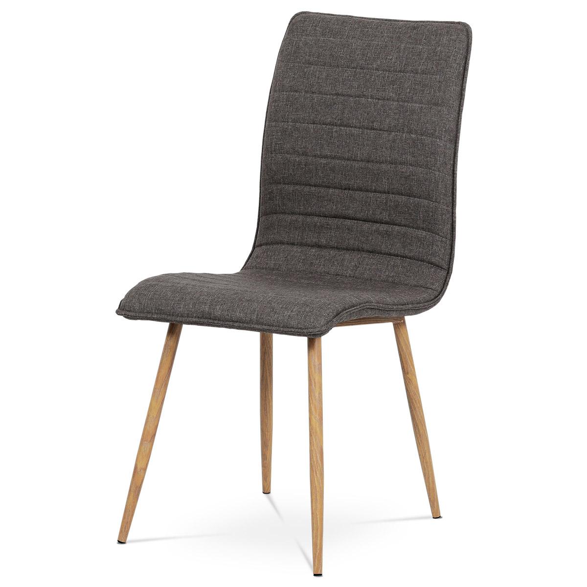 Autronic - Jídelní židle coffee látka / kov (dekor dub) - HC-368 COF2