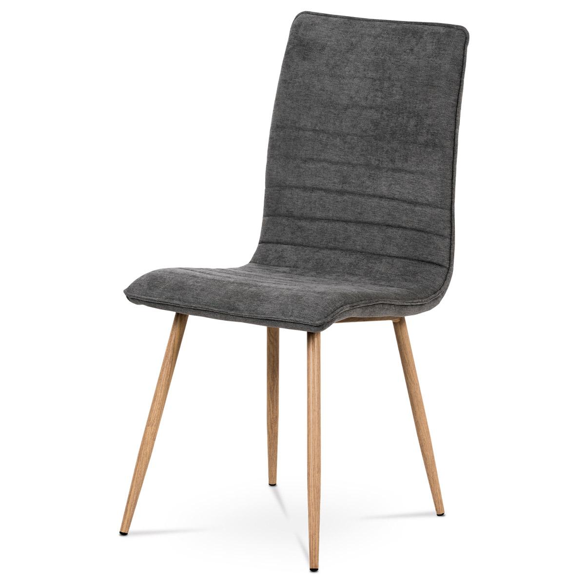 Jídelní židle, šedá látka, kovová 4 nohá podnož, 3D dekor dub - HC-368 GREY2