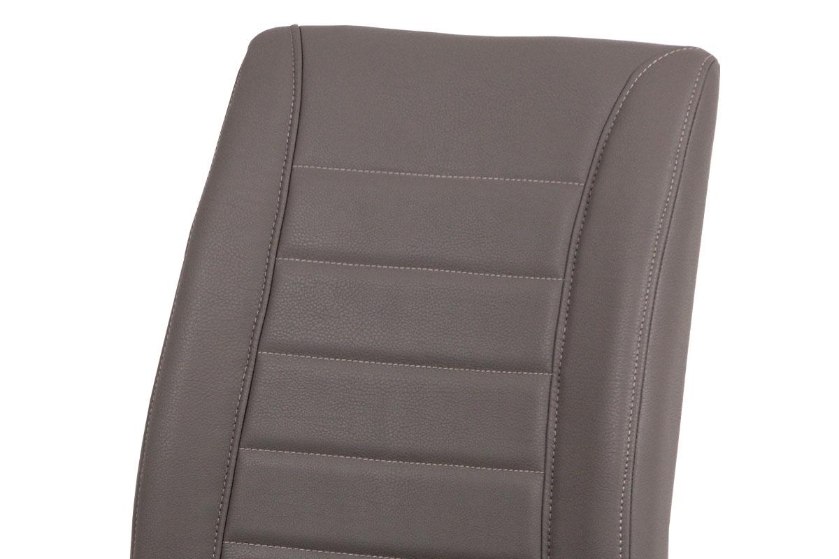 Jídelní židle - cappuccino ekokůže, kovová chromovaná podnož - HC-375 CAP
