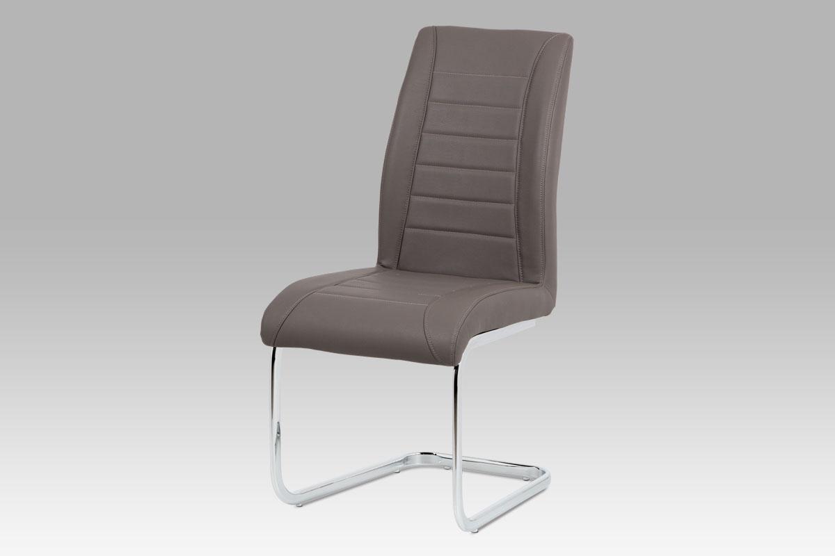 Autronic - Jídelní židle - cappuccino ekokůže, kovová chromovaná podnož - HC-375 CAP