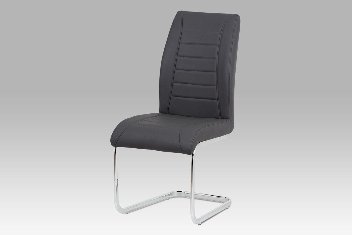 Autronic - Jídelní židle - šedá ekokůže, kovová chromovaná podnož - HC-375 GREY
