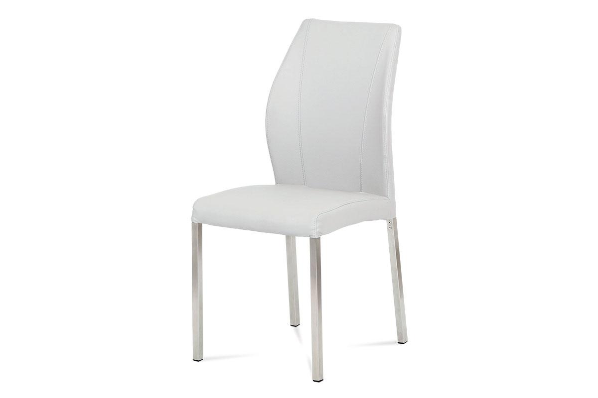 Autronic - Jídelní židle koženka bílá / broušený nerez - HC-381 WT1