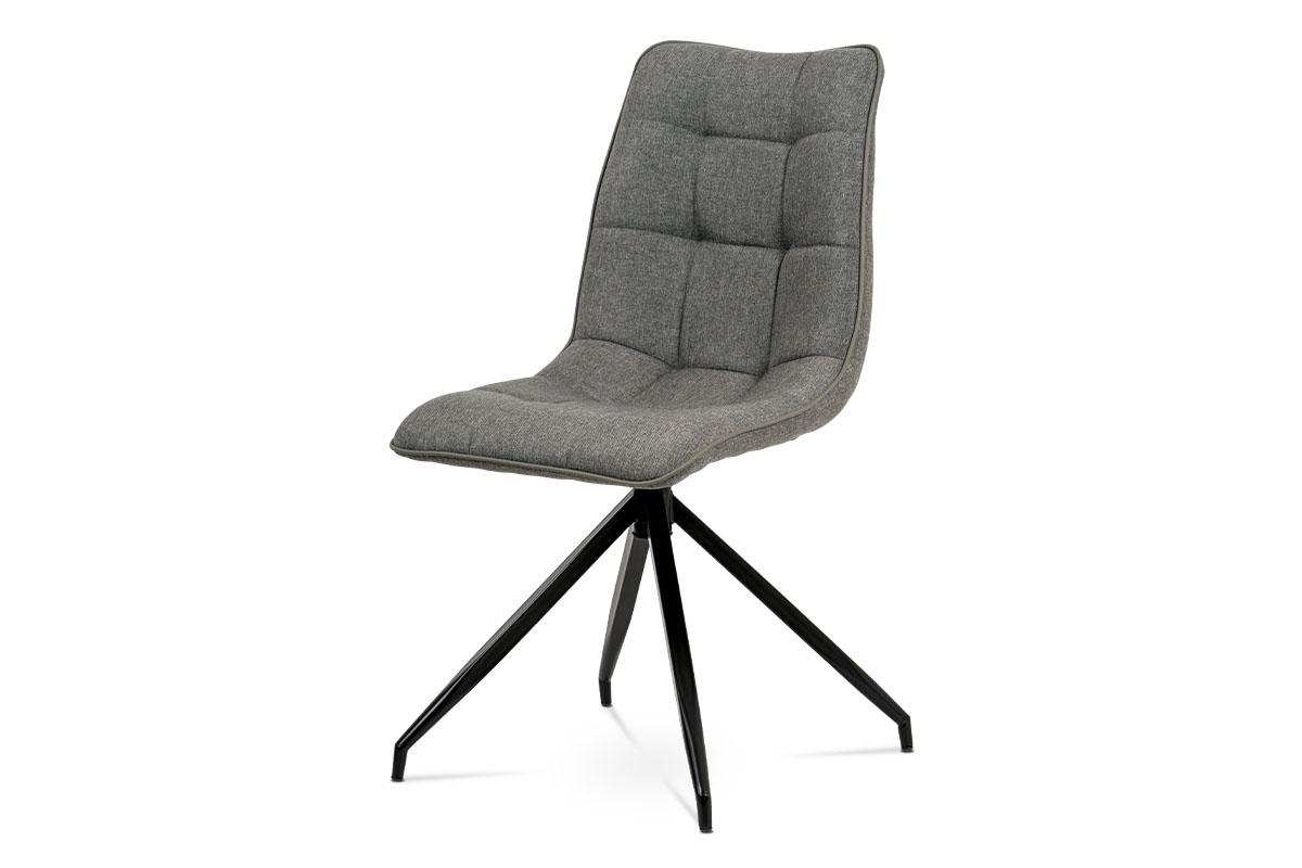 Autronic - Jídelní židle, hnědá látka + ekokůže, kov antracit - HC-396 COF2