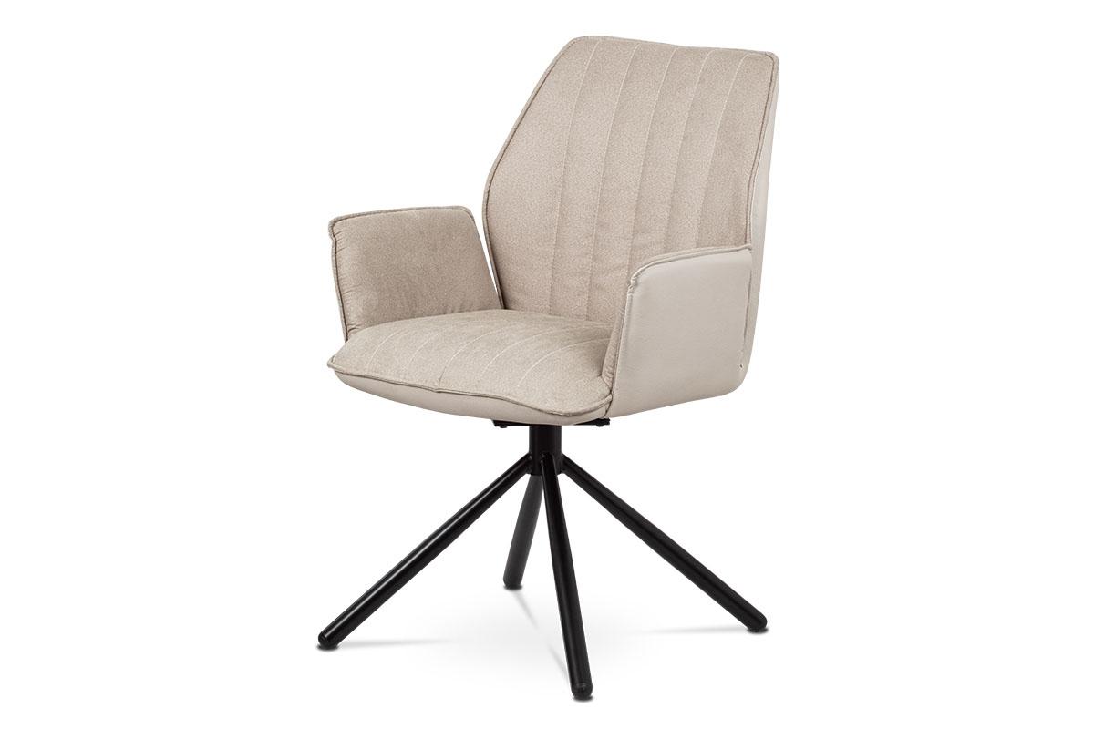 Autronic - Jídelní a konferenční židle, cappuccino ekokůže / látka, kovová podnož, černý matný lak, otočná o 180° se zpětným mech. - HC-399 CAP2