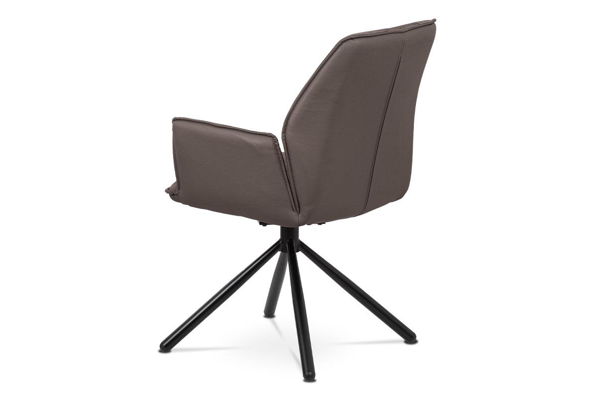 Jídelní a konferenční židle, lanýžová ekokůže / látka, kovová podnož, černý matn - HC-399 LAN2