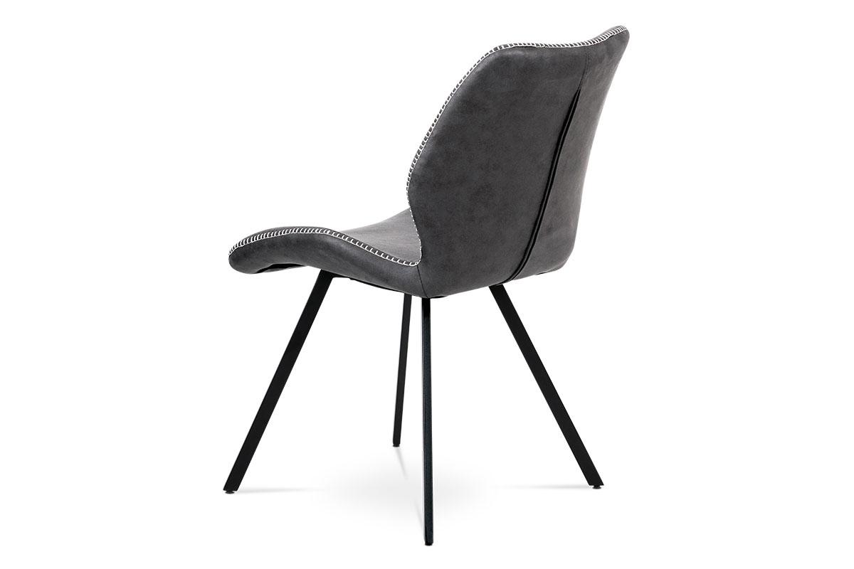 Jídelní židle, potah šedá látka v dekoru vintage kůže, bílé prošití, kovová čty - HC-440 GREY3