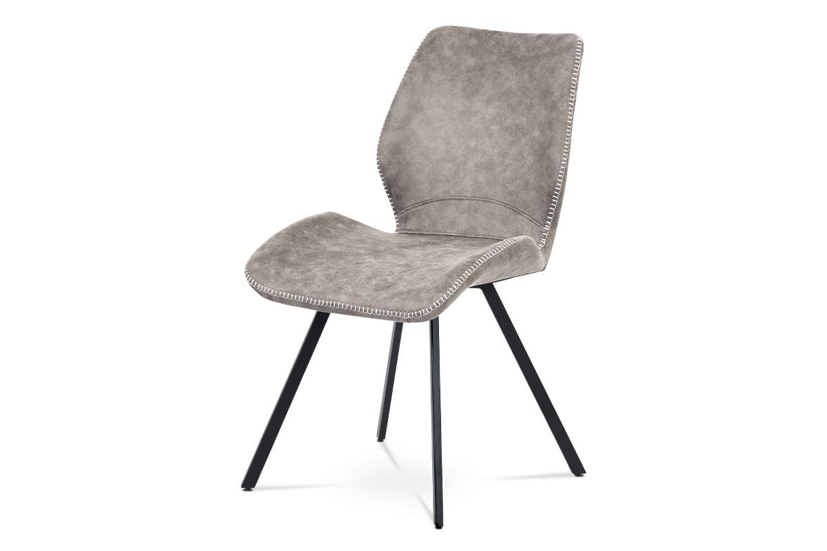 Autronic - Jídelní židle, lanýžová látka vintage, kov černý mat - HC-440 LAN3