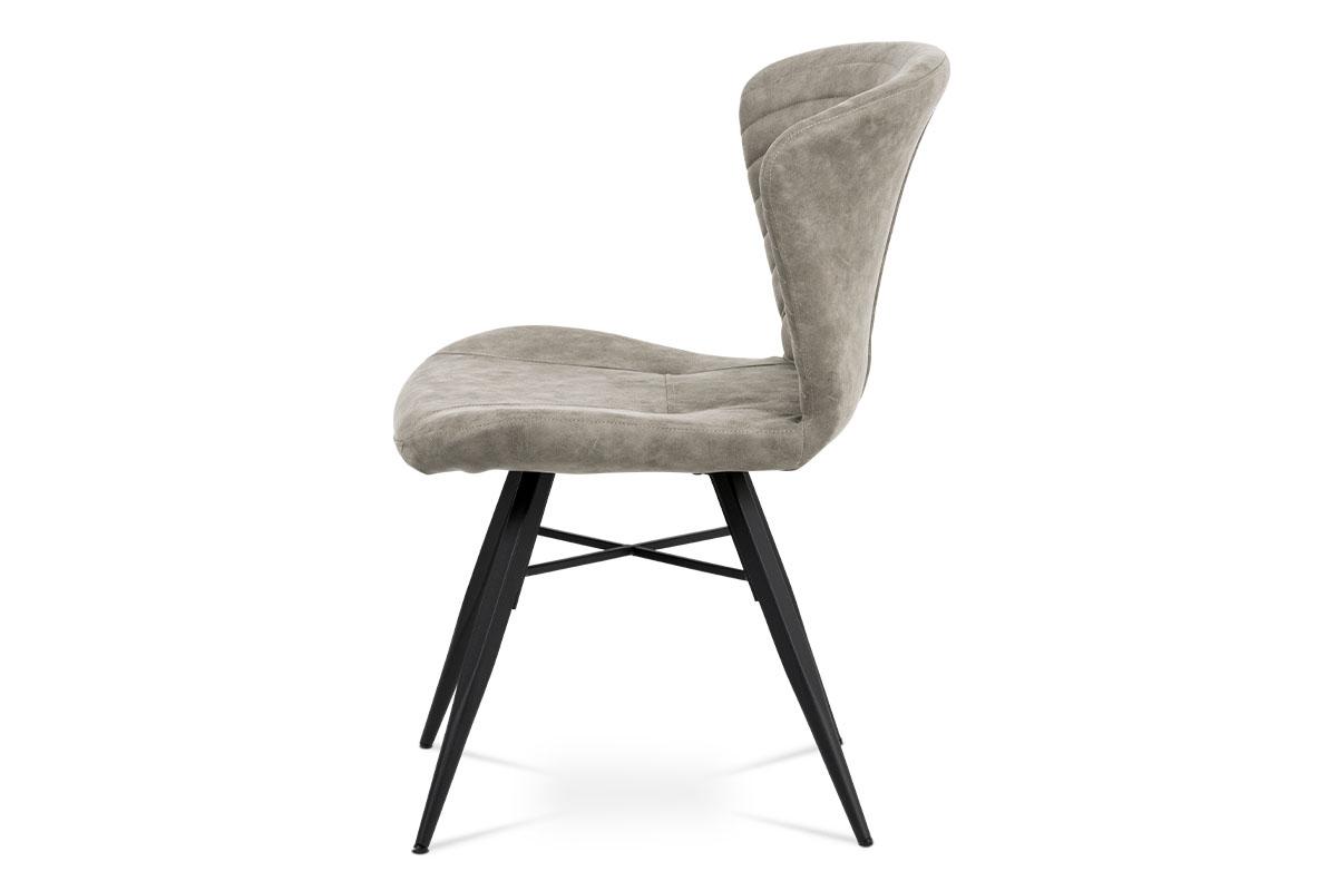 Jídelní židle, lanýžová látka vintage, kov černý mat - HC-442 LAN3