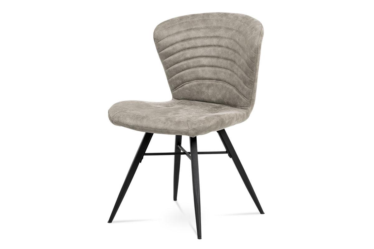 Autronic - Jídelní židle, lanýžová látka vintage, kov černý mat - HC-442 LAN3