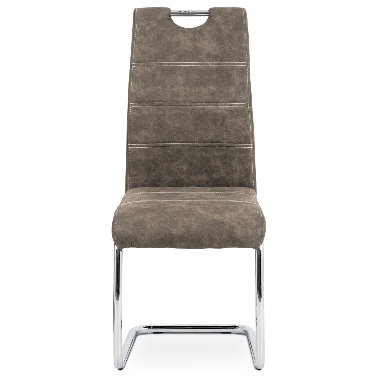 Jídelní židle, potah hnědá látka COWBOY v dekoru vintage kůže, kovová chromovaná - HC-483 BR3