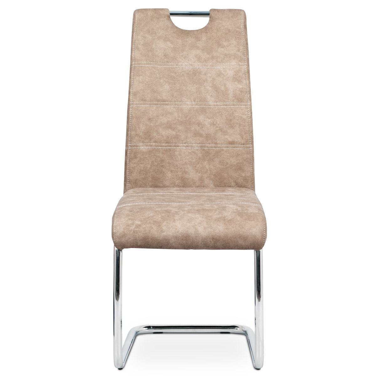 Jídelní židle, potah krémová látka COWBOY v dekoru vintage kůže, kovová chromova - HC-483 CRM3
