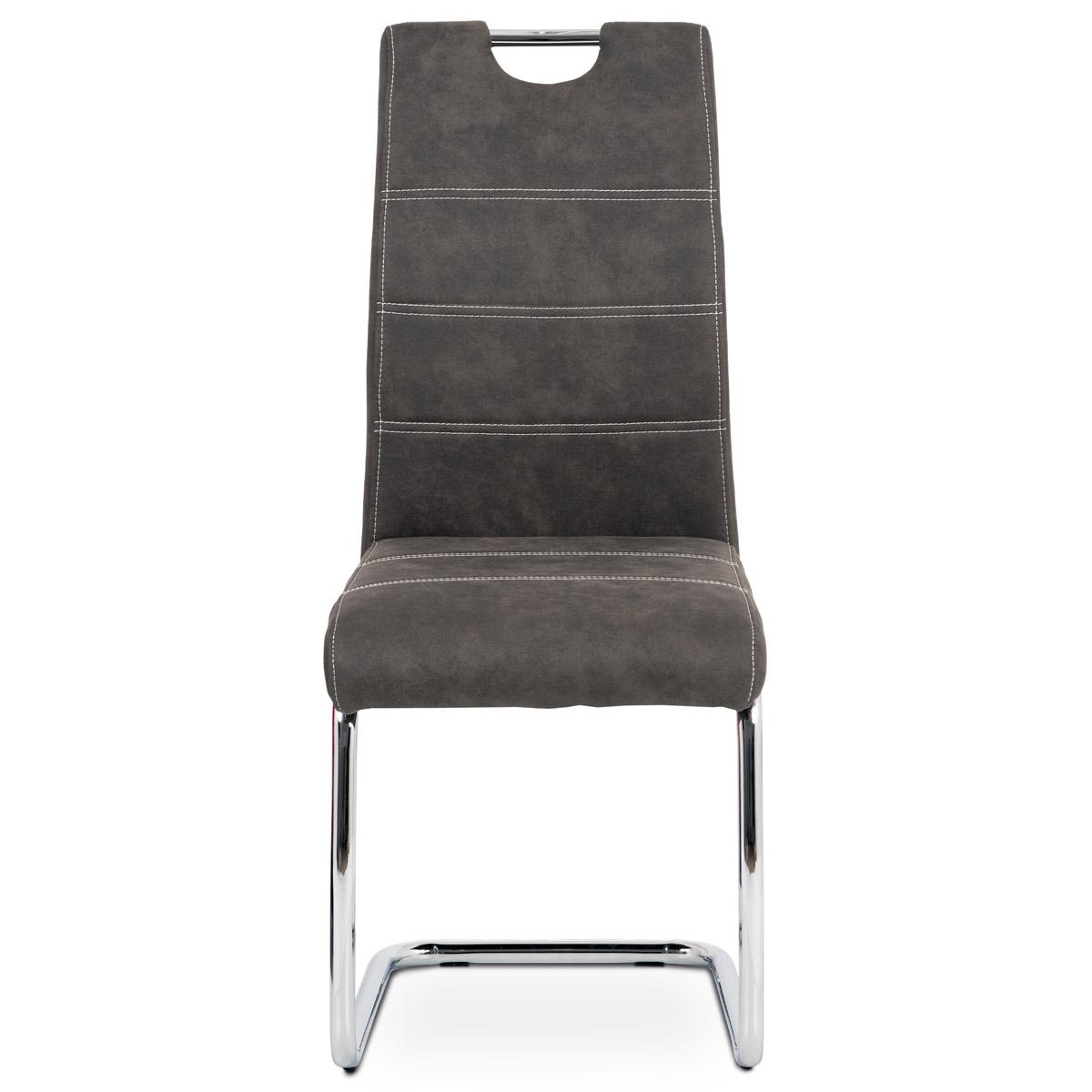 Jídelní židle, potah antracitově šedá látka COWBOY v dekoru vintage kůže, kovová - HC-483 GREY3