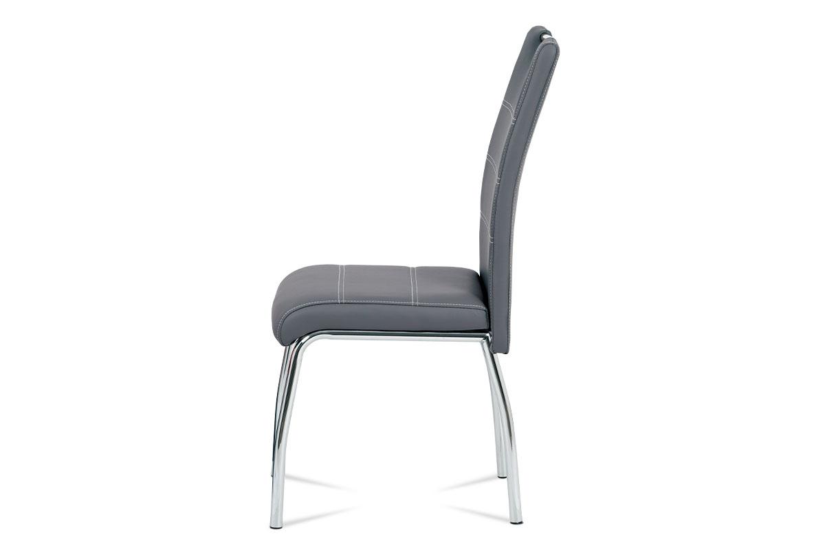 Jídelní židle, potah šedá ekokůže, bílé prošití, kovová čtyřnohá chromovaná podn - HC-484 GREY