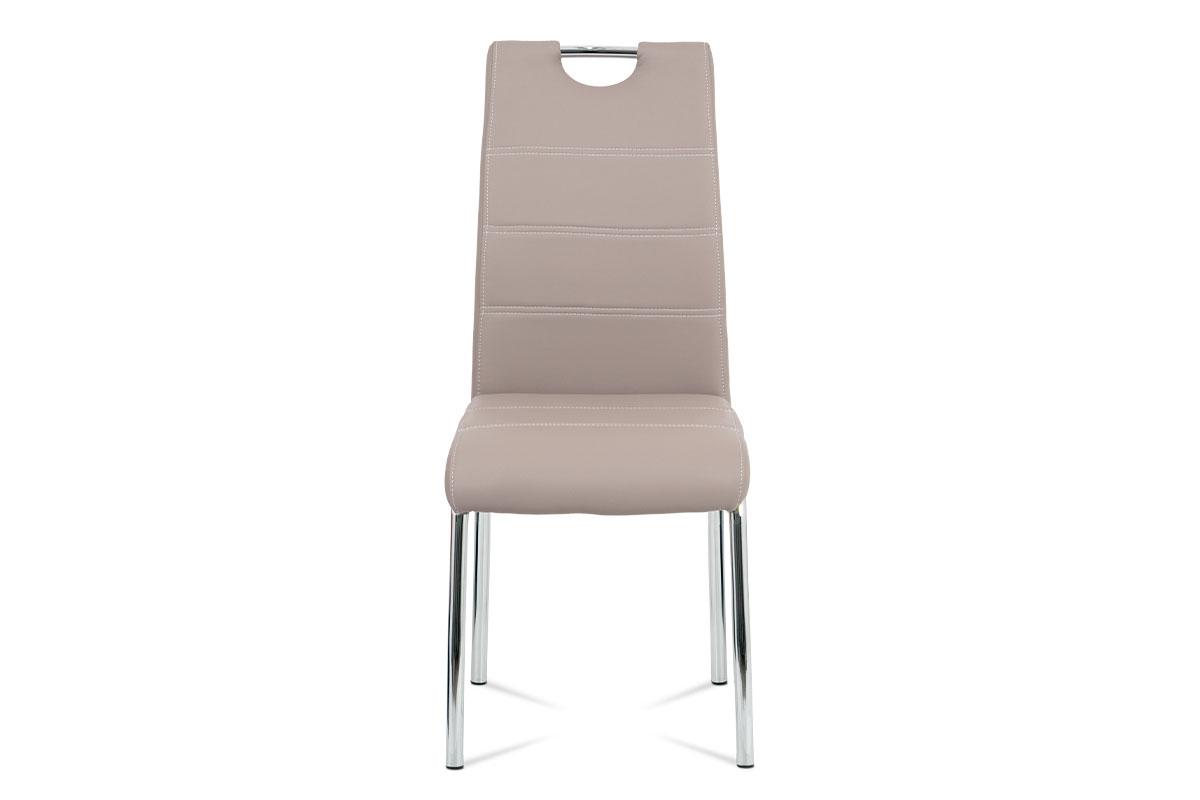 Jídelní židle, potah lanýžová ekokůže, bílé prošití, kovová čtyřnohá chromovaná - HC-484 LAN