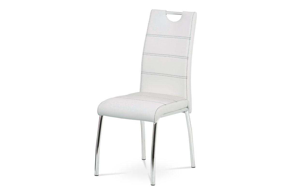 Jídelní židle, potah bílá ekokůže, černé prošití, kovová čtyřnohá chromovaná pod - HC-484 WT