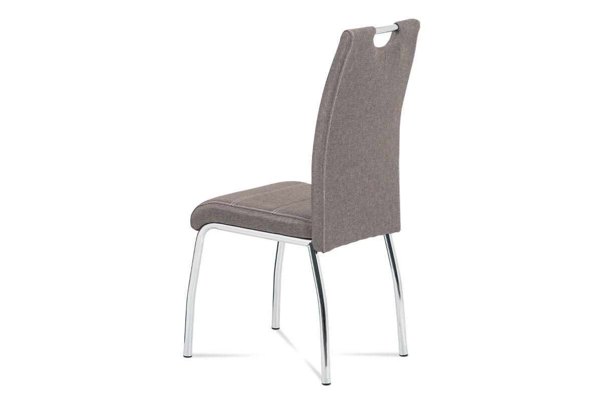Jídelní židle, potah coffee látka, bílé prošití, kovová čtyřnohá chromovaná podn - HC-485 COF2