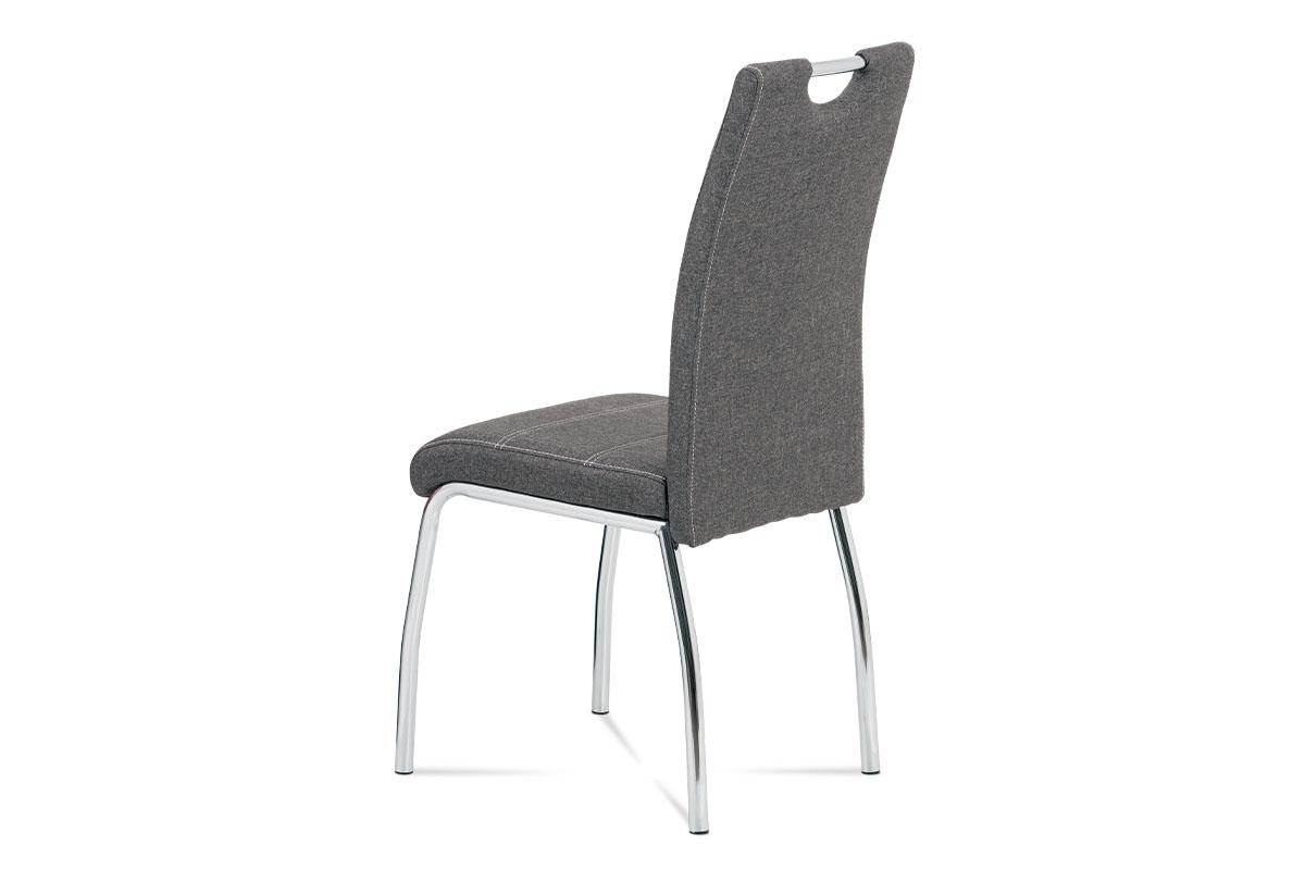 Jídelní židle, potah šedá látka, bílé prošití, kovová čtyřnohá chromovaná podnož - HC-485 GREY2