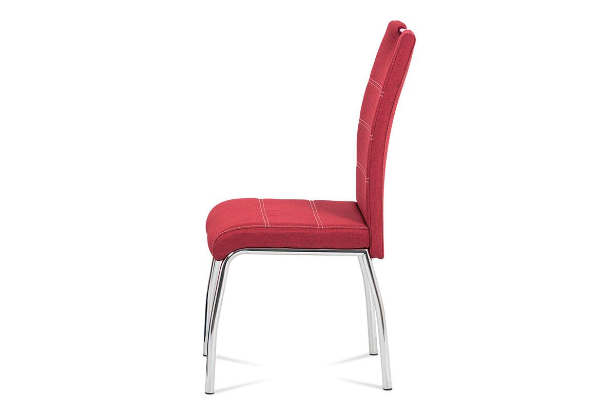 Jídelní židle, potah vínově červená látka, bílé prošití, kovová čtyřnohá chromov - HC-485 RED2