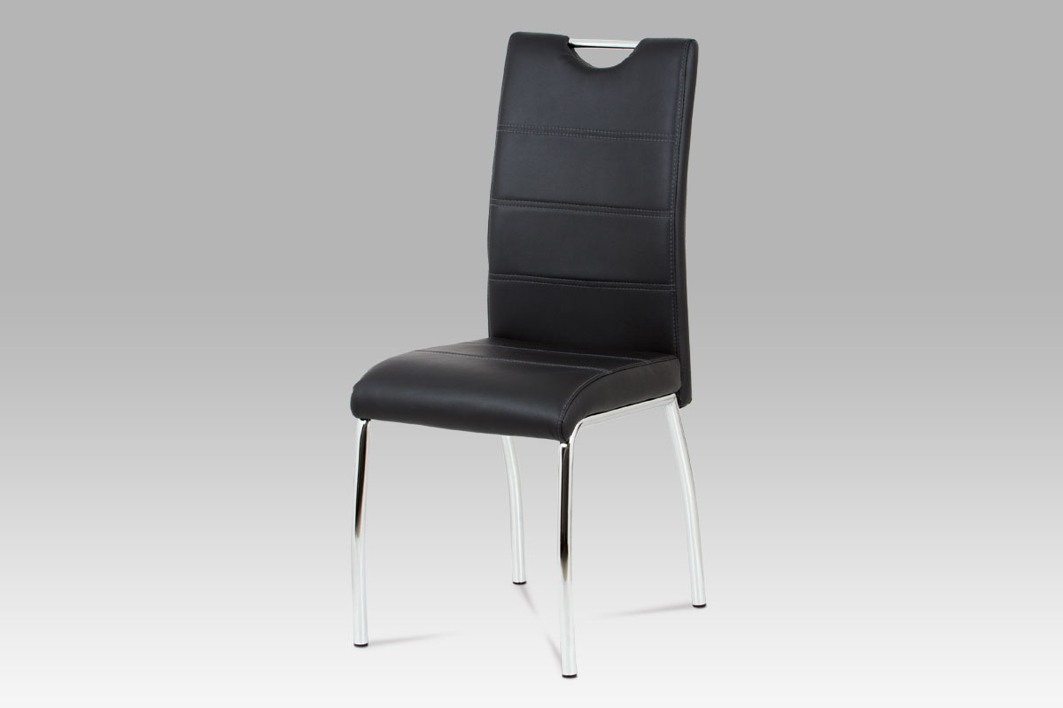 Autronic - Jídelní židle černá koženka / chrom - HC-585 BK