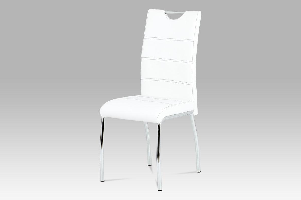 Autronic - Jídelní židle bílá koženka / chrom - HC-585 WT