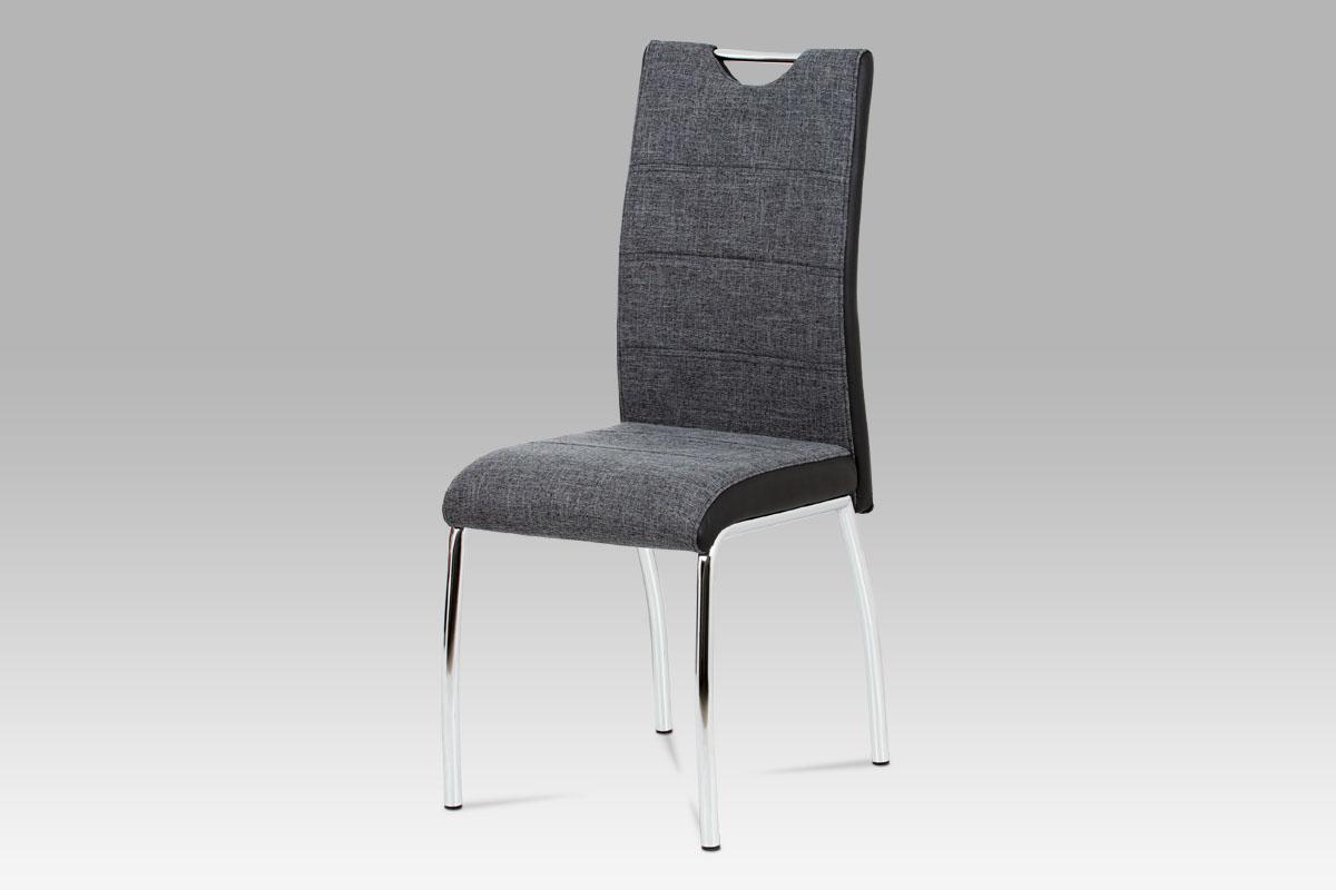 Autronic - Jídelní židle šedá látka + černá koženka / chrom - HC-586 BK2