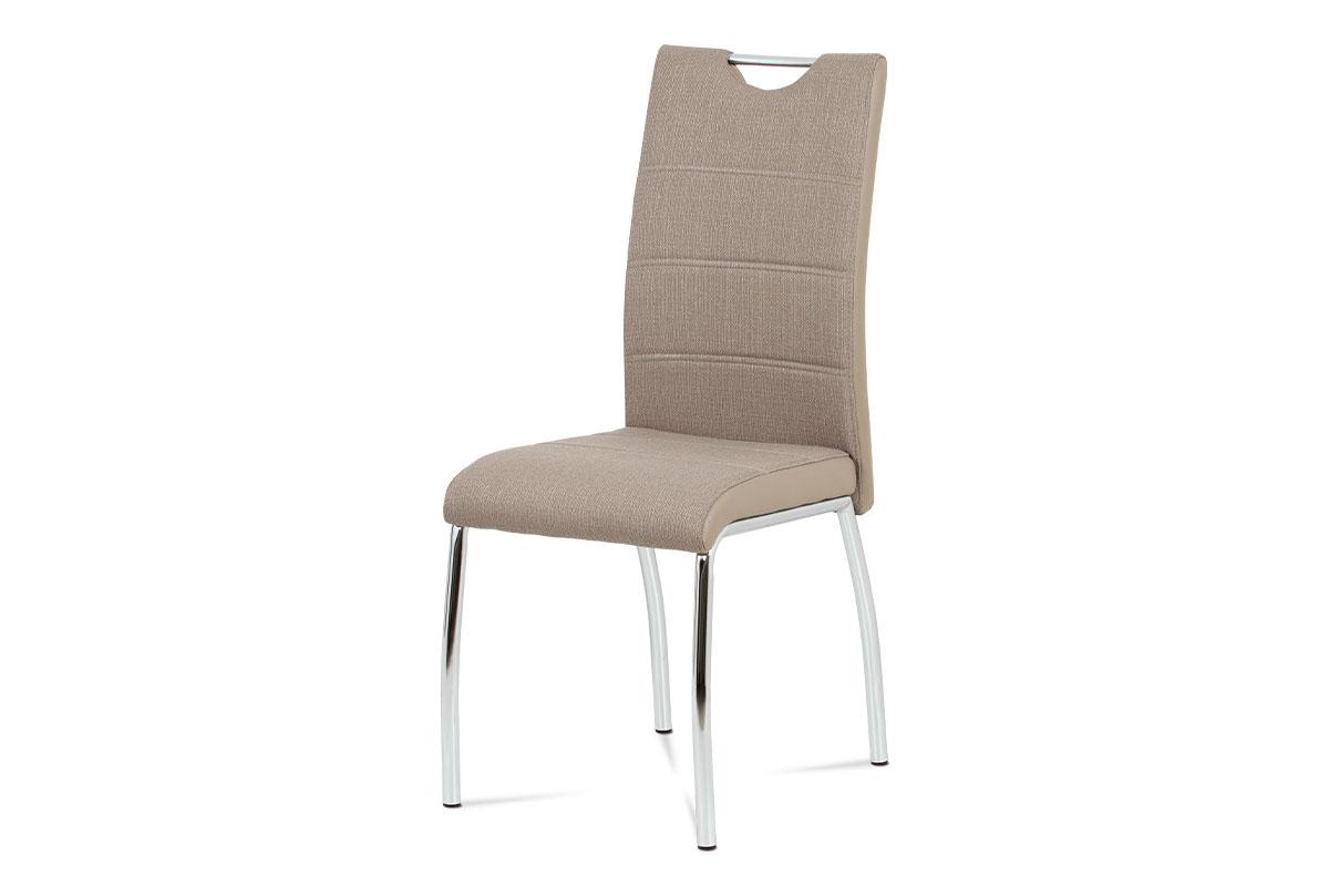 Autronic - Jídelní židle cappuccino látka + cappuccino koženka / chrom - HC-586 CAP2