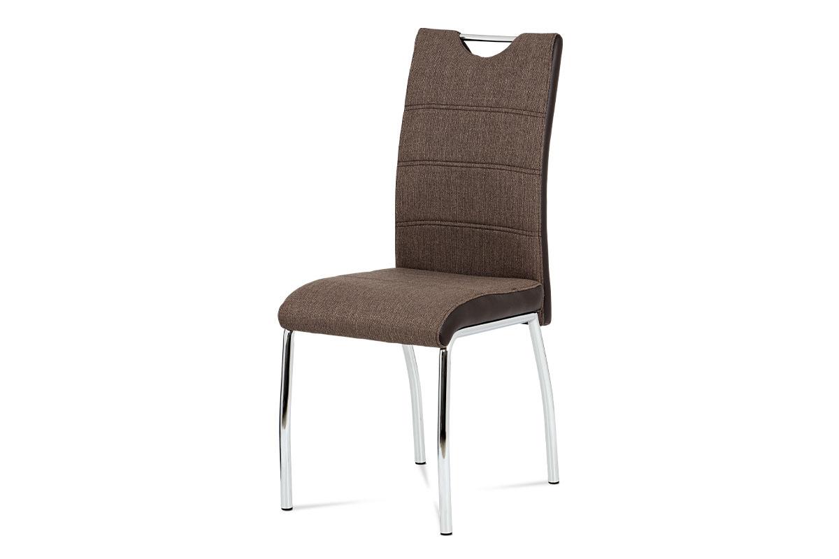 Autronic - Jídelní židle coffee látka + hnědá koženka / chrom - HC-586 COF2