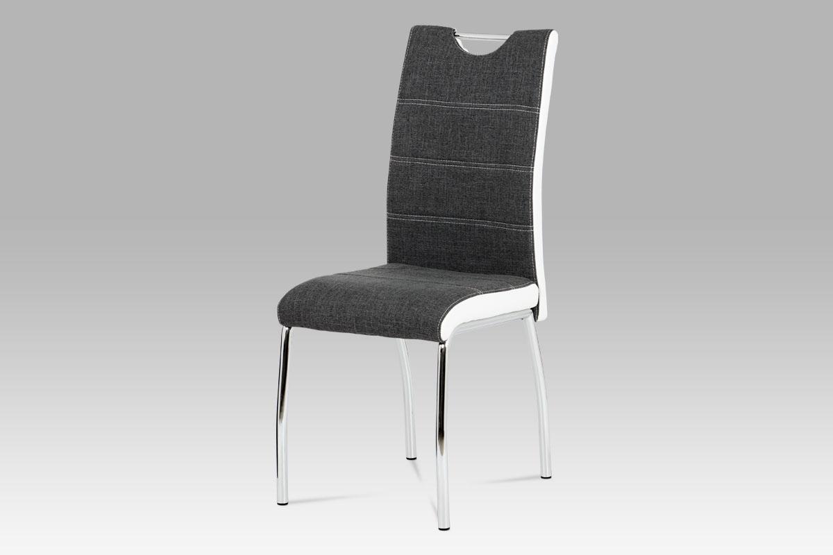 Autronic - Jídelní židle šedá látka + bílá koženka / chrom - HC-586 GR2