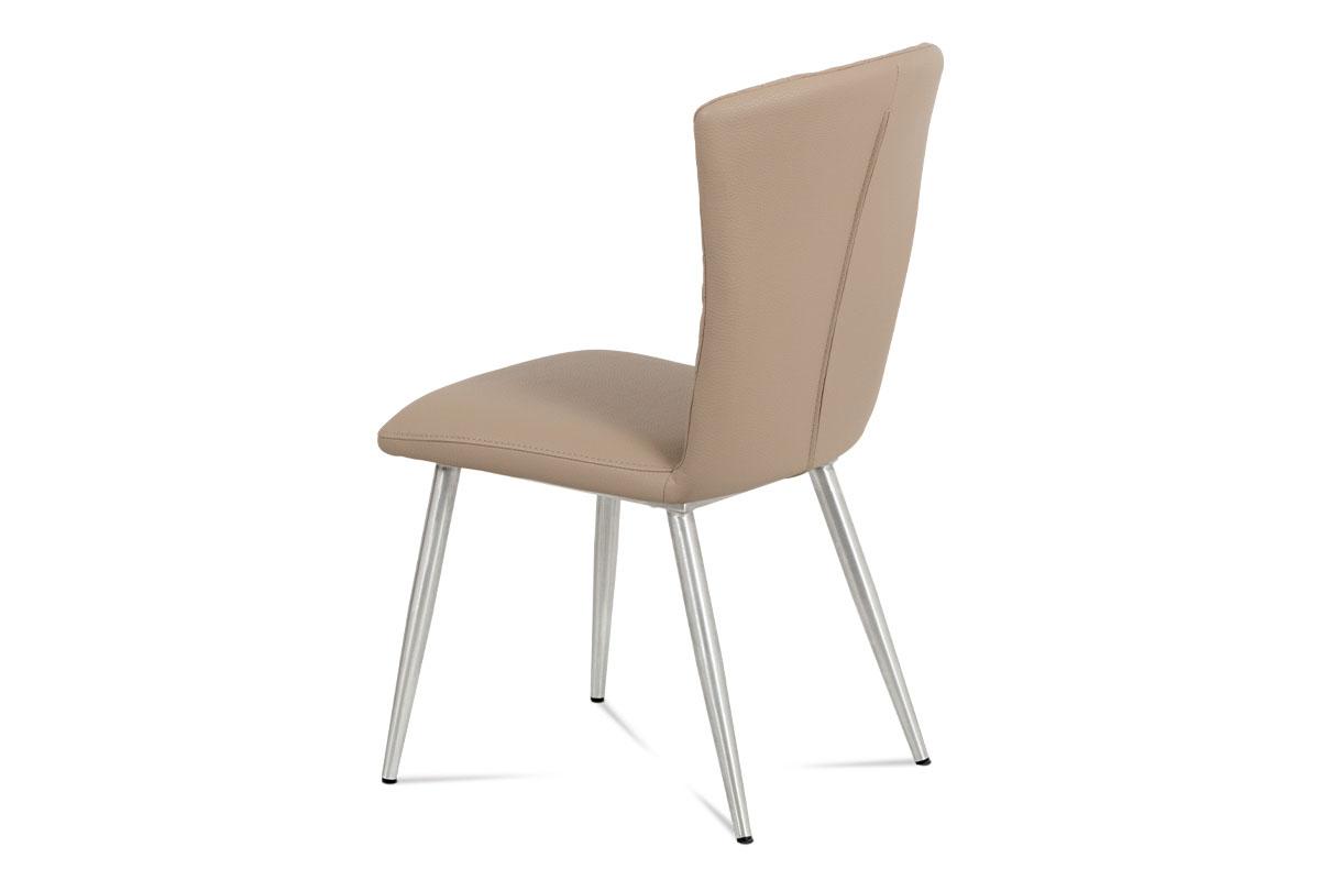 Jídelní židle koženka cappuccino / broušený nerez - HC-666 CAP