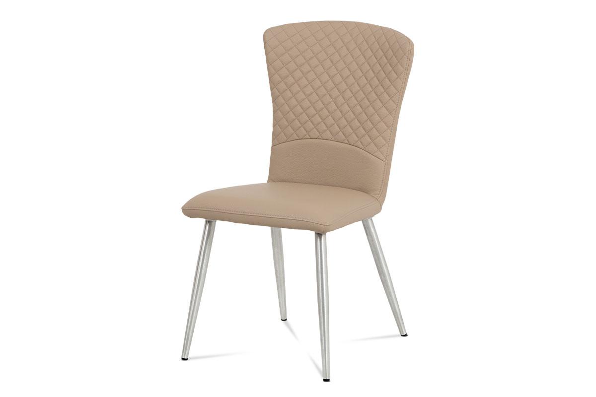 Autronic - Jídelní židle koženka cappuccino / broušený nerez - HC-666 CAP