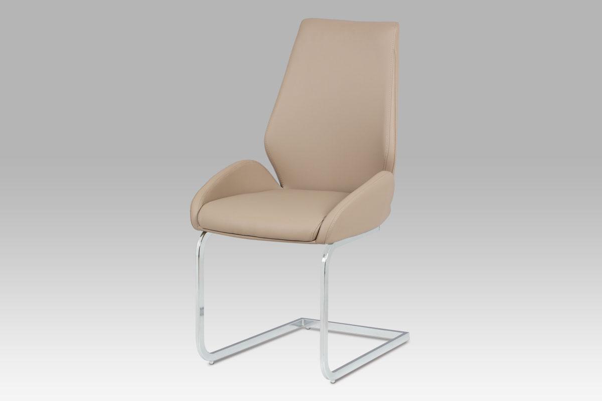 Autronic - Jídelní židle, koženka cappuccino / chrom - HC-702 CAP