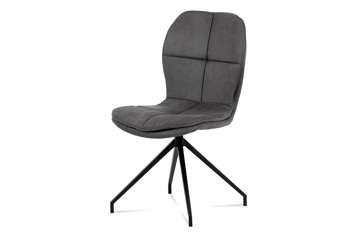 """Autronic - Jídelní židle, šedá látka """"COWBOY"""", kov černá - HC-710 GREY3"""