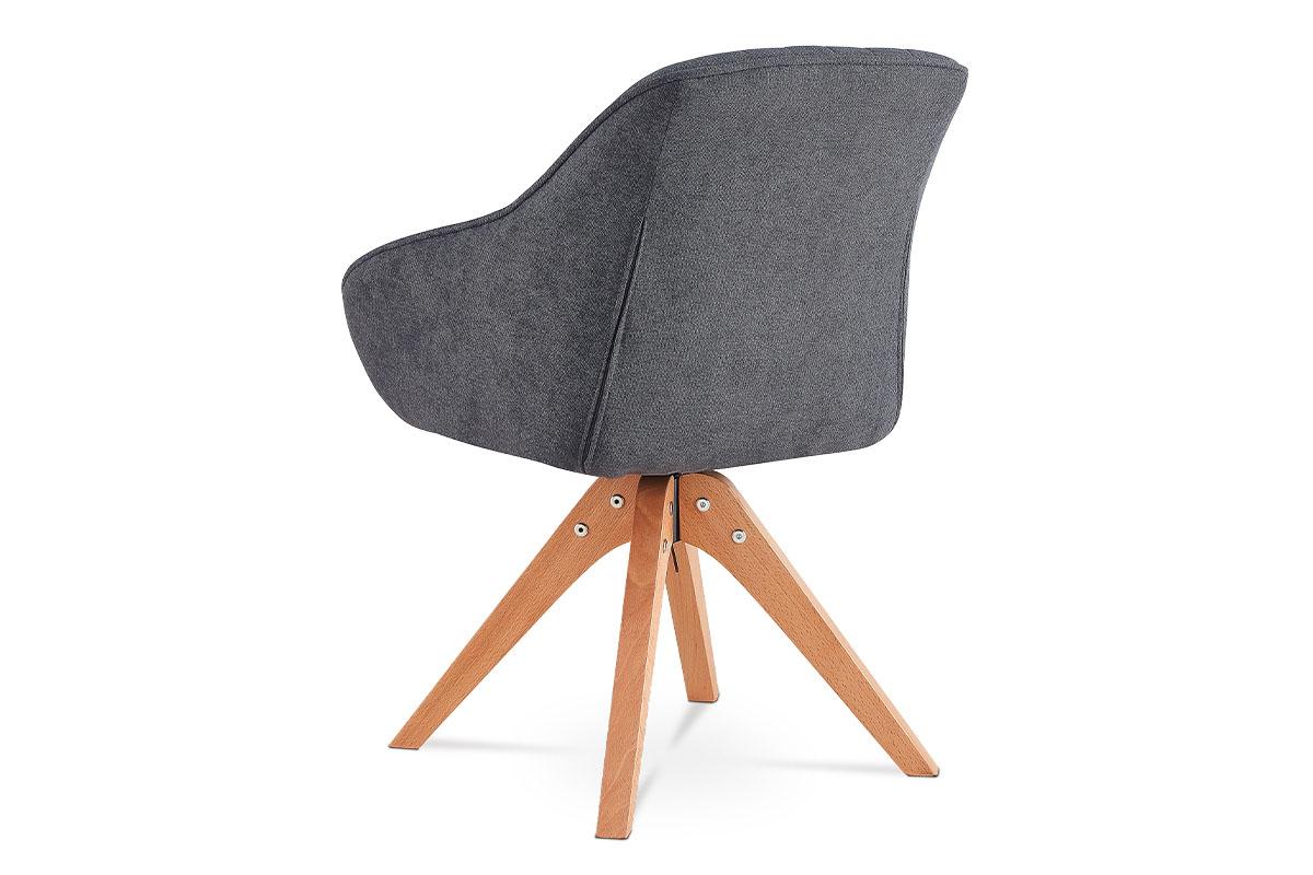 Jídelní a konferenční židle, potah šedá látka, nohy masivní buk v tmavším přírod - HC-770 GREY2