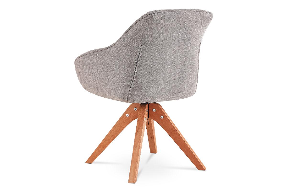 Jídelní a konferenční židle, potah latté látka, nohy masivní buk v tmavším příro - HC-770 LAT2