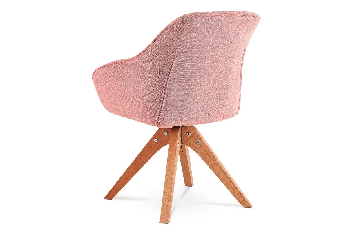 Jídelní a konferenční židle, potah starorůžová látka, nohy masivní buk v tmavším - HC-770 PINK2