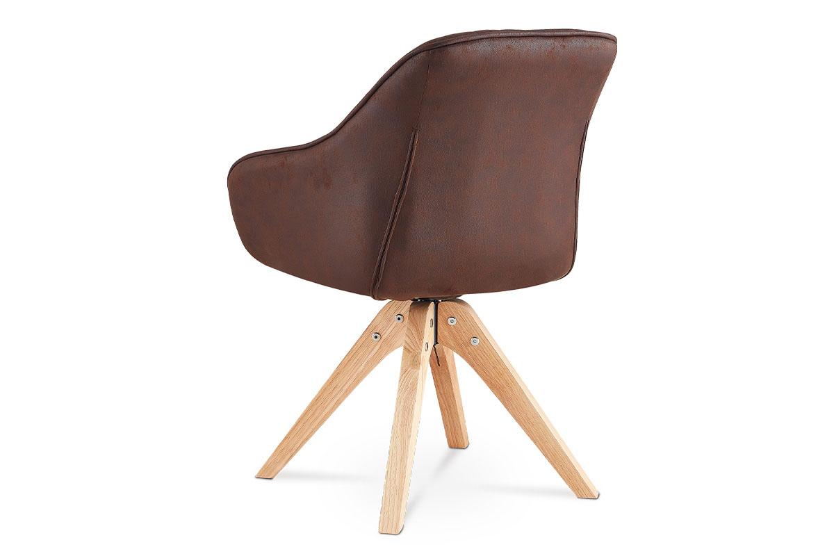 Jídelní a konferenční židle, potah hnědá látka v dekoru broušené kůže, nohy masi - HC-772 BR3