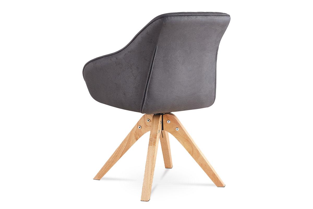 Jídelní a konferenční židle, potah šedá látka v dekoru broušené kůže, nohy masiv - HC-772 GREY3