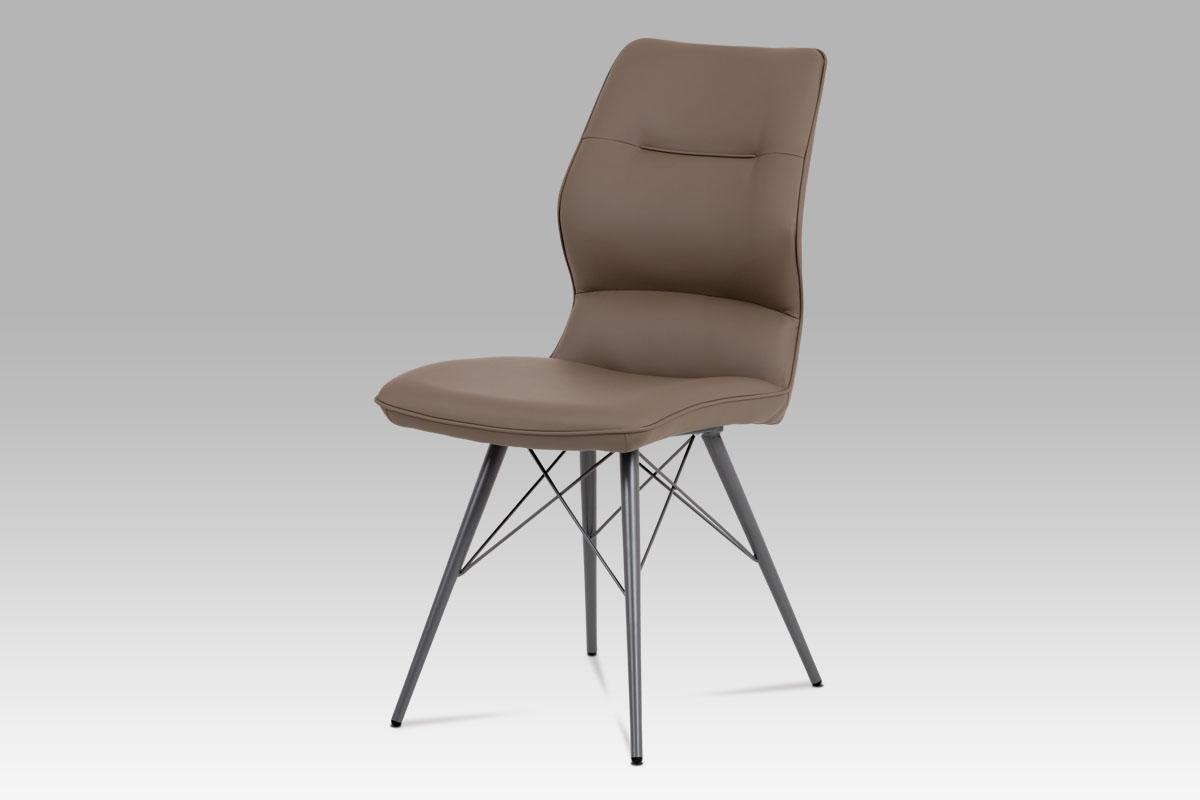 Autronic - Jídelní židle, cappuccino ekokůže, kov matná šedá - HC-781 CAP