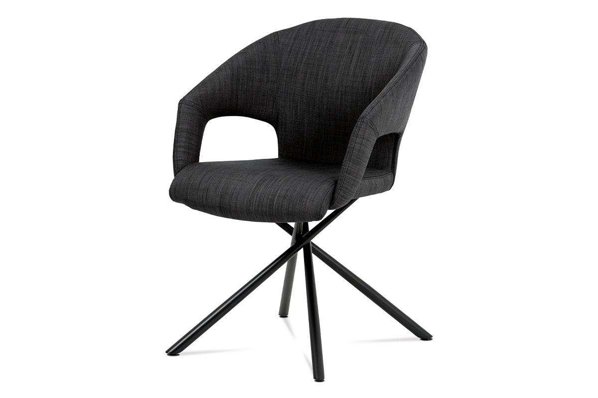 Autronic - Jídelní židle, černá látka, kov matná černá - HC-784 BK2