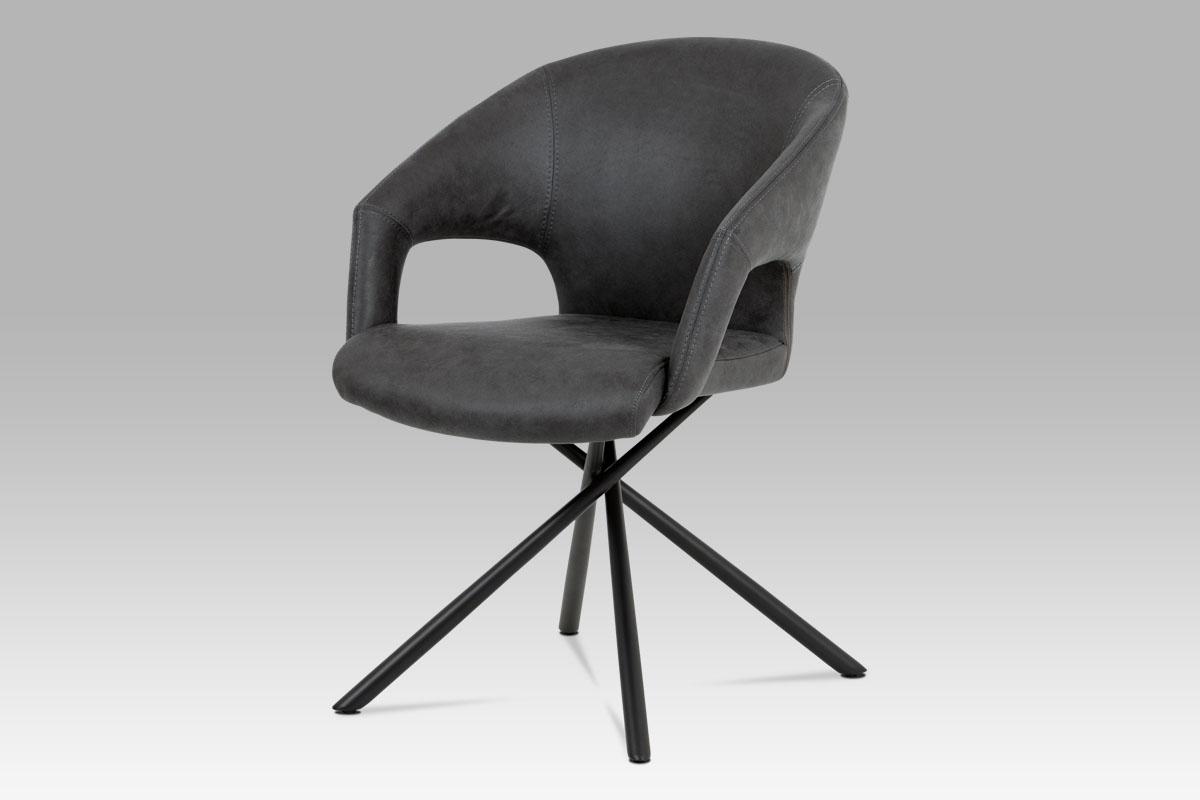 Autronic - Jídelní židle, šedá látka, kov matná černá - HC-784 GREY3
